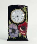 Moorcroft Anemone tribute design mantle clock: dated 2003. height 15.