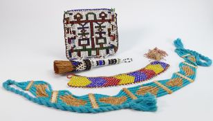 A collection of African bead work: To include handbag, brush and similar.