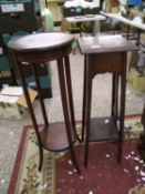 one arts and crafts style plant stand: together with mahogany inlaid plant stand