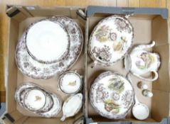 A collection of Royal Worecster Palissy Game Bird to include: Soup Tureens, Large Platter, Soup