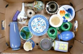 A mixed collection of items to include: studio pottery Lochgilphead vase, German folk pottery,