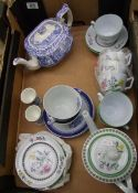A mixed collection of items to include: Spode Italian tea pot, similar cup ans saucer, summer palace