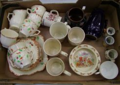 A mixed collection of items to include: floral decorated part tea set, bunnykins oatmeal dish,