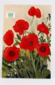 Tubelined Pottery Plaque: with Poppy Decoration, table stand fitting , 30 x 20cm
