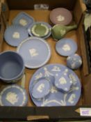 A collection of Wedgwood Jasperware items to include: planter, vases, pin dishes etc