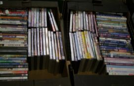 A large collection of DVD's: Only Fools and Horses, movies etc (2 trays).