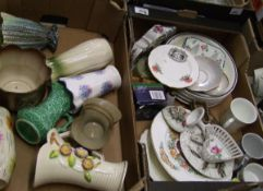 A mixed collection of items to include: decorative vases, commemorative items (2 trays).