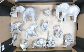 A collection of Ceramic & Resin Elephants: include Lenox & Safari Friends etc