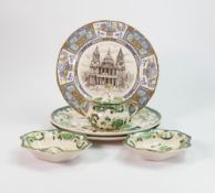 Masons chartreuse patterned items to include: lidded bowl, plates, small dish etc