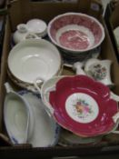 A mixed collection of item to include: Coalport floral decorated items, Wedgwood dish etc