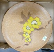 Un Marked Earthen Ware Art Deco Wall Charger: with floral decoration, diameter 42cm