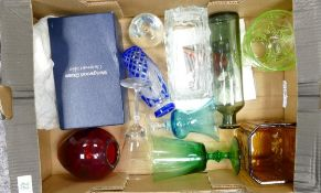 A mixed collection of item to include: Art Glass, Boxed Wedgwood Glass Christmas Goblet, Art Deco