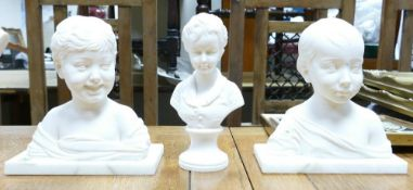 Three Resin Busts of Children: two with marble plinths, height of tallest 18cm(3)