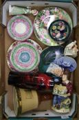 A mixed collection of ceramic items to include: Royal Doulton flambe vase, Moorcroft dish,