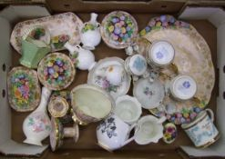 A mixed collection of ceramic items to include: Aynsley vase, Paragon twin handled cups, Coalport,