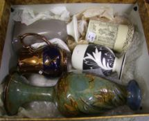 A collection of English pottery to include: Royal Doulton (damaged ) Vase, Series Ware Tankard, chip