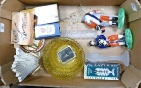 A mixed collection of items to include: glass figures, novelty fish boxed corkscrew, decorative