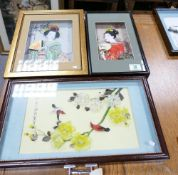 Framed Japanese Shadow Boxes: with Geisha & still Life themes(3)