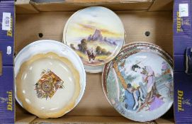 A mixed collection of items to include: Oriental Theme Wall Plates, French comical item, Royal