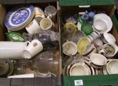 A mixed collection of items to include: glass items, commemorative items ( 2 trays)