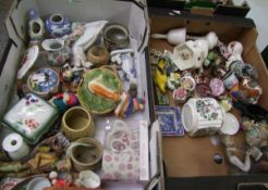A mixed collection of items to include: novelty figures, ornaments, animal figures etc (2 trays).