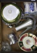 A mixed collection of items to include: Wedgwood tureen, Oriental plates, pewter coffee set etc (