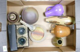 A collection of studio pottery including Margery Clinton boxed sake bowls, vases, dishes, jugs etc