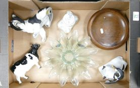 A mixed collection of items to include: Damaged Beswick Friesian Cow, ceramic figure of collie