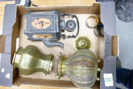 A collection of Oriental theme items including cauldron, vase & teapot
