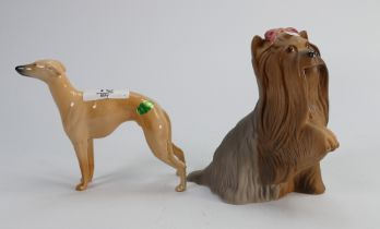 Beswick Whippet 1786B and Yorkshire Terrier with paw raised Matte (2):