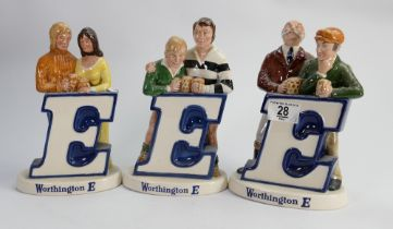 Beswick Worthington E advertising figures: comprising Rugby players, Couple and two men. (3)