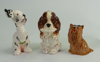 Beswick comical dogs: Yorkshire terrier 2102,Dog with food plate 1054 and Dalmatian. (3)