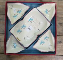 Beswick Circus sandwich set: comprising large dish with 4 small dishes, in original box.