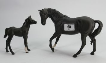 Beswick black beauty and foal in matte (2) :
