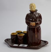 Beswick monk decanter set with tumblers on tray: