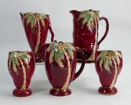 A collection of Beswick Red Palm vases and Jugs: tallest 21cm. (5)