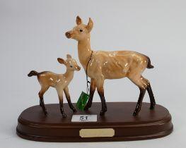 Beswick Doe and Fawn on wood base: