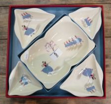 Beswick Ballet sandwich set: comprising large dish with 4 small dishes, in original box.