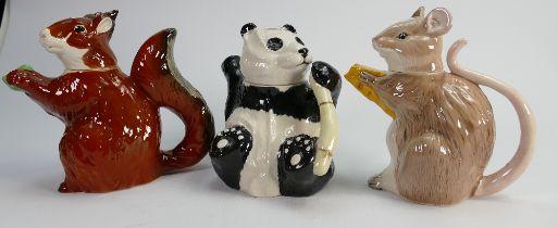 Beswick animal teapots: Panda, Squirrel and Rat. (3)