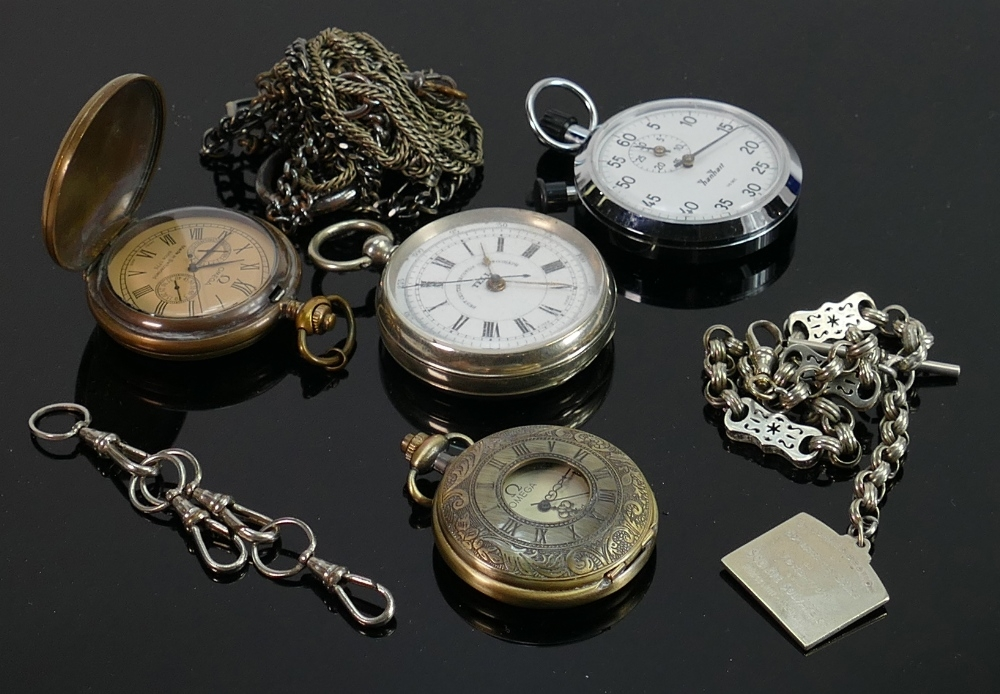 Four base metal pocket watches and chains: All sold as not working, and of various ages.(4)