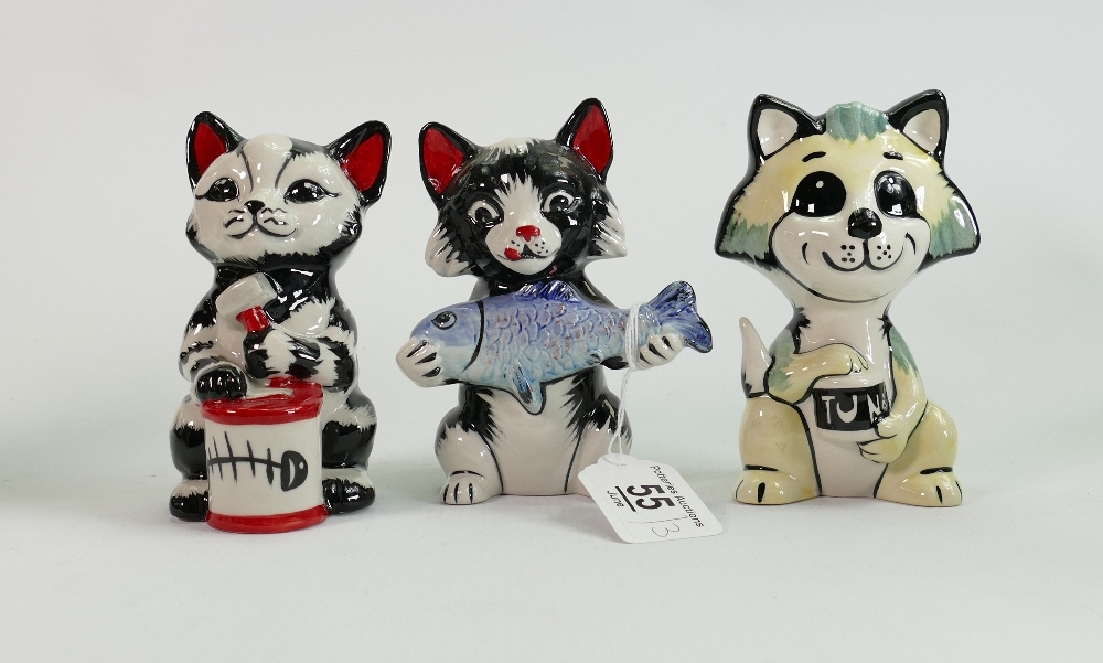 Three Lorna Bailey cats: All fish themed, tallest 12.75 cm (3)