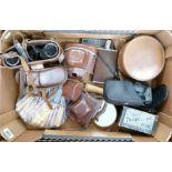Tray lot containing cameras binoculars etc : Includes Ross binoculars 9 x 35 Stepruva. Camneras