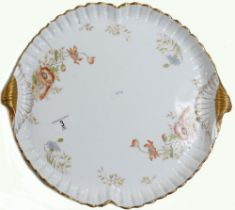 Large Aynsley Poppy Design Handled Tray: diameter at widest Point 42cm