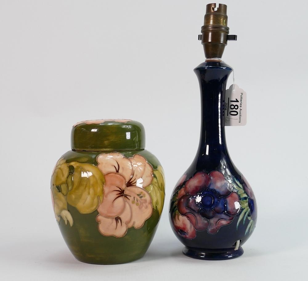Moorcroft lamp base and ginger jar: Both damaged - Lamp base anemone pattern, has hairline and