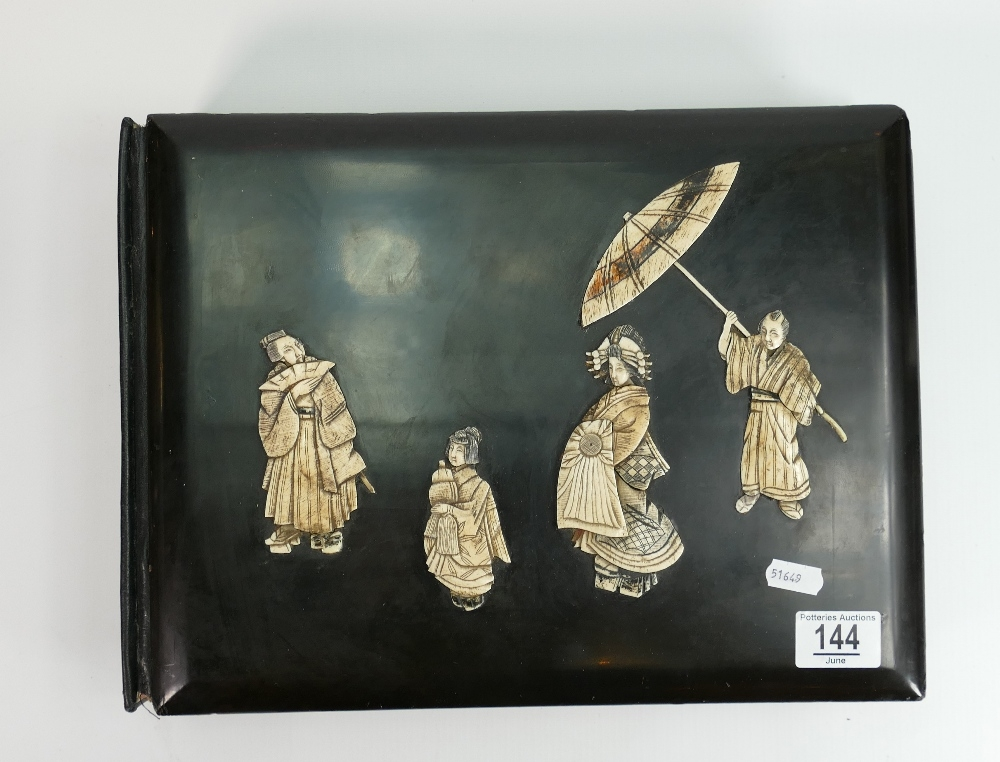 Large oriental lacquer and bone photo or postcard album: dating to the early 20th century. Overall