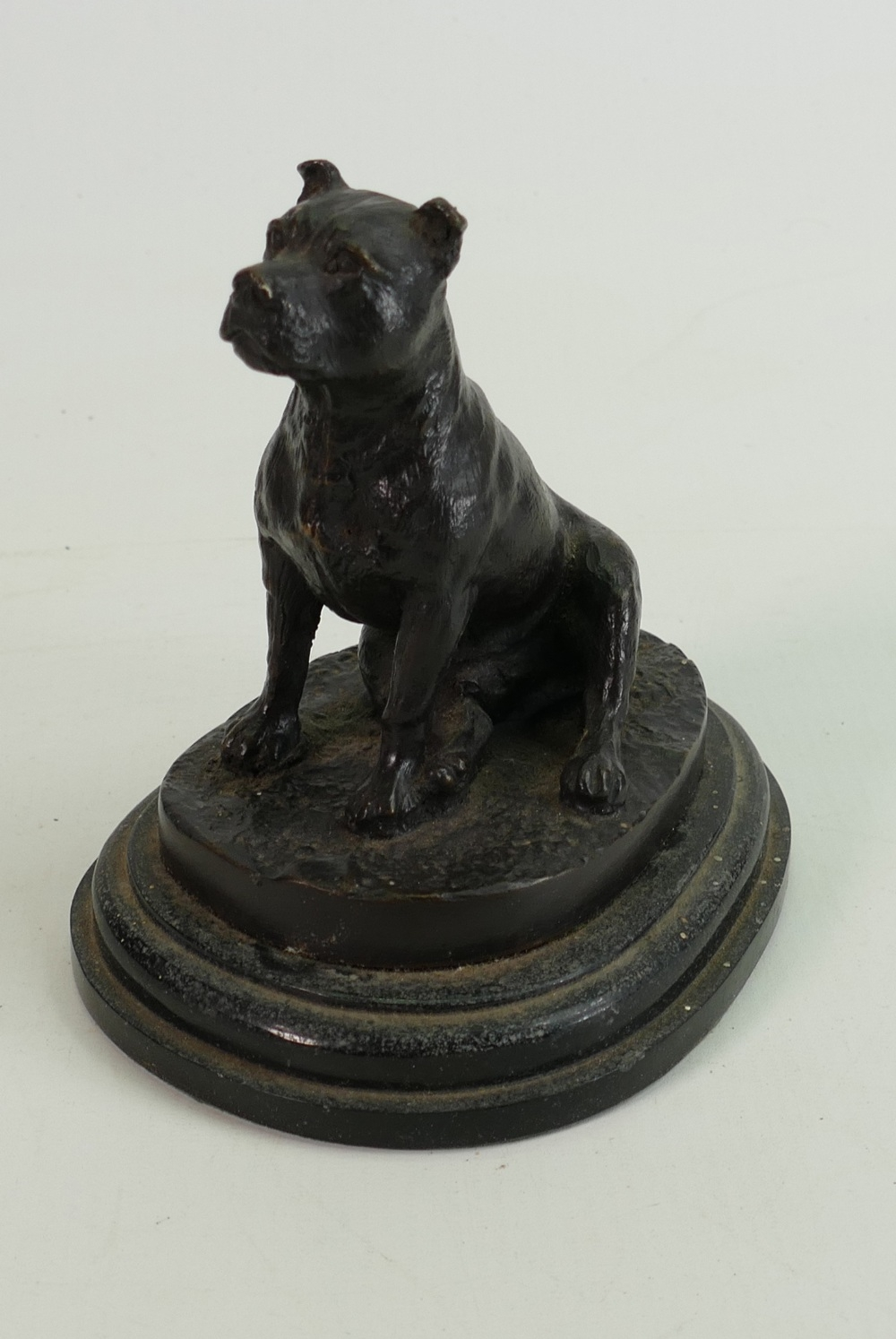 Bronze Staffordshire Bull Terrier: mounted on wooden plinth, height 14cm