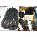 A mixed collection of items to include: hand embroidered apron, kid leather gloves, handbags, fabric