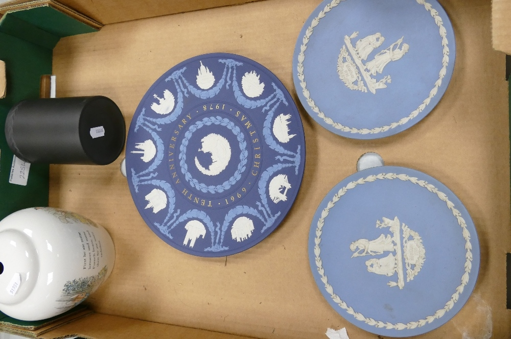 A collection of Wedgwood items to include: Peter Rabbit Lamp Base, Black Basalt Cylindrical Brush