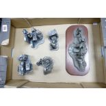 A collection of Large Heavy Evergreen Collection Pewter Figures to include: Poachers, Wheelwright,