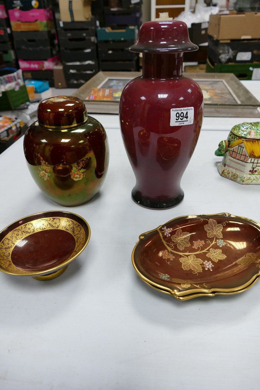 A collection of Carltonware Rouge Royal & similar patterned items to include: Lamp base, Ginger Jar,